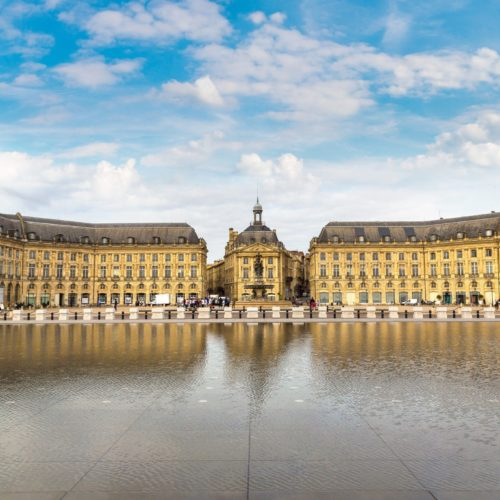 Place de la Bourse in Bordeaux in a beautiful summer night, France